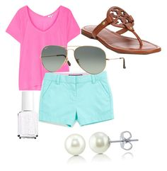 Preppy summer day by lillypulitzera on Polyvore featuring polyvore, fashion, style, Splendid, Tory Burch, BERRICLE, Ray-Ban, Essie, Vineyard Vines and clothing