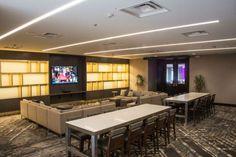 The foyer for our new Crossroads Ballroom | Location:  DoubleTree Syracuse #Weddings #SyracuseWeddings #WeddingVenue #Foyer #CocktailHour #Modern #Lounge #Hotel #SyracuseHotel