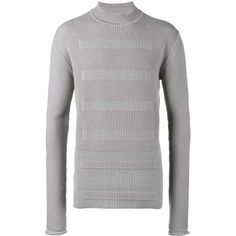 Rick Owens ribbed knitted sweater ($1,070) ❤ liked on Polyvore featuring men's fashion, men's clothing, men's sweaters, grey, mens funnel neck sweater, mens grey sweater and mens gray sweater