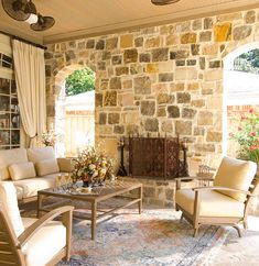 Ellen Grasso Inc - traditional - patio - dallas - Ellen Grasso & Sons, LLC I like to cool color of the stone wall Outdoor Drapes, Outdoor Rooms, Outdoor Decor, Outdoor Areas, Patio Furniture Covers, Porch Furniture, Porches, Outdoor Life, Outdoor Living