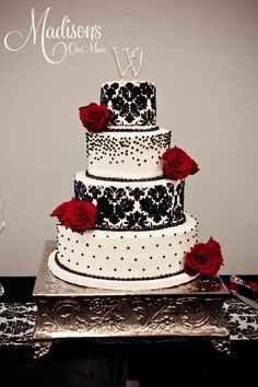black red wedding cakes   Black damask, black pearls, and red roses.....