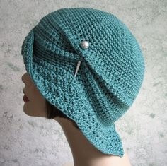 Instant Download Womens Crochet Hat Pattern With Large Brim- Instant Download Close fitting cloche with large draped brim and center back slit.