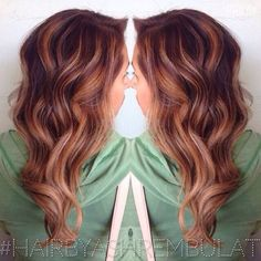 A copper/red base with a golden balayage highlight and a shaped ...