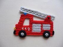Feuerwehrauto - Häkelapplikation