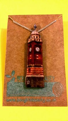 Crouch End Clock Tower Necklace. Handmade jewellery, lasercut from upcycled wood. by BoughtoBeauty on Etsy