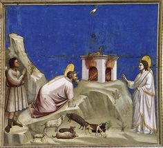 Joachim's Sacrificial Offering via Giotto Di Bondone Size: 185x200 cm Medium: fresco