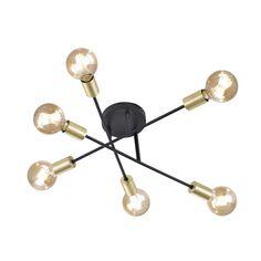 Plafonnier noir et or Cross six lampes  TRIO