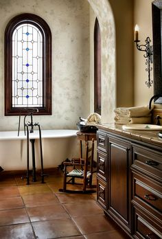 Jaw-Dropping Useful Ideas: Small Bathroom Remodel Design master bathroom remodel on a budget.Bathroom Remodel Ideas Before And After. Spanish Style Bathrooms, Spanish Bathroom, Mediterranean Bathroom, Spanish Style Homes, Mediterranean Home Decor, Spanish House, Master Bathroom, Spanish Colonial, Spanish Revival