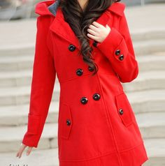 Women's Red Long Double Brested Woolen Overcoat Hoodie Coat(China (Mainland))