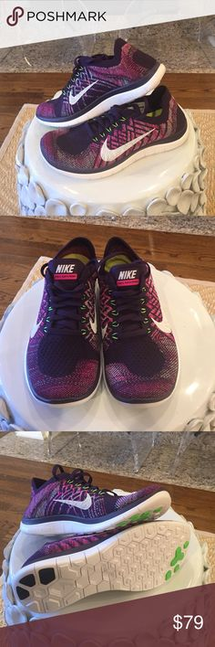 Nike -women's Free 4.0 Flynit shoes Like new. TBH, are new.  Never worn.  Factory paper still in the shoe.  However, no box.  Women's size 7.5.  Ultra-lightweight flexibility. The Nike Free Flyknit 4.0 running shoe continues the tradition of Flyknit with a woven upper that conforms to the foot for breathable, lightweight comfort with each stride. Flywire cables deliver support without extra weight, while the flexible Nike Free mid-sole/out-sole gives you natural range of motion over any…