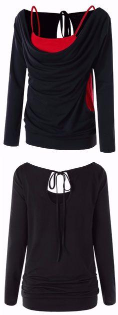 SportsX Mens V Neck Long Sleeve Faux Twinset Mesh Basic Tee Shirt Tunic