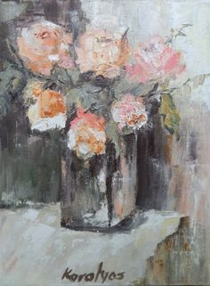 Pink roses in a vase from KMari by DaWanda.com
