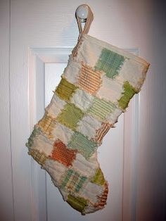 homespun rag quilted stocking