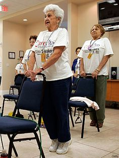 Two exercises to develop balance: chair stands and toe raises. Good balance is critical in reducing the risk of falls.