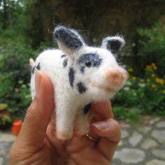 Teacup pig needle felted animal fiber art by TCMfeltDesigns, $49.00