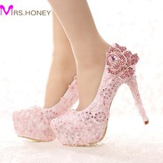 61.55$  Buy now - http://alio8z.worldwells.pw/go.php?t=32652751830 - Fashion Pink Lace Bride Shoes Rhinestone Rose Flower High Heel Wedding Shoes Platform Round Toe Princess Pumps Prom Shoes