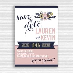 Blush Pink and Navy Blue Wedding Save the Date by ktgrrlDESIGNS on Etsy https://www.etsy.com/listing/221080789/blush-pink-and-navy-blue-wedding-save