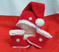 Crochet Baby Christmas Hat & Booties