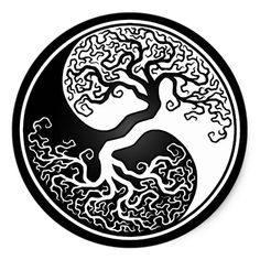 White and Black Tree of Life Yin Yang Classic Round Sticker This unique yin yang features a twisted tree growing from the center of the design The intricate branches tha. Arte Yin Yang, Ying Y Yang, Yin Yang Art, Yin And Yang, Tattoo Life, Simbolos Tattoo, Tree Of Life Tattoos, Inca Tattoo, Wrist Tattoo