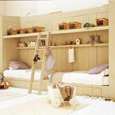 replace the baskets with a small play area, and add 2 full size beds