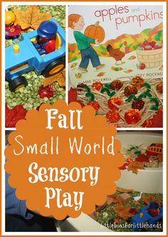 We read Pumpkins and Apples by Anne Rockwell and created a fun sensory play small world to go along with it! Sensory play is a wonderful way to a bring a story to life and have your child become a part of it!