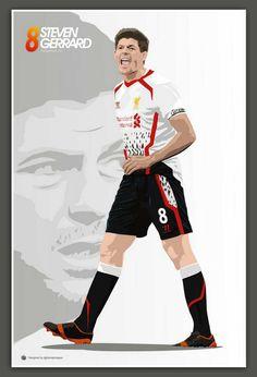 ♠ Captain Fantastic #LFC #Artwork Stevie G, This Is Anfield, Captain Fantastic, Steven Gerrard, Liverpool Fc, Football, Posters, Collection, Artwork