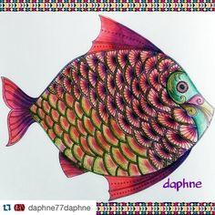 """Amazing!!!! By @daphne77daphne  #Repost @daphne77daphne with @repostapp. ・・・ Lost ocean #forum_da_criatividade #adultcoloringbook…"""