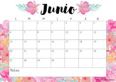 Calendario gratuito imprimible y descargable junio 2016 #printable