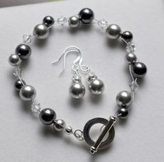 Double Strand Bracelet. Light & Dark Grey Swarovski Pearls With Clear Bicone Crystals