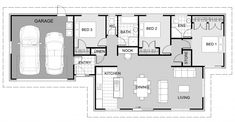 Signature Home Floorplan - KIWI double garage, 3 bedrooms Best House Plans, Small House Plans, Tiny Apartments, Floor Layout, Double Garage, New Home Builders, Good House, New Home Designs, Kiwi