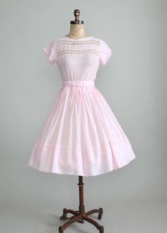 Vintage Early 1960s Pastel Pink Summer Day Dress