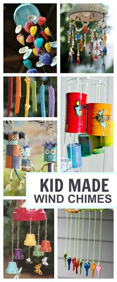 20 wind chime crafts kids can make- these are BEAUTIFUL! I want to make them all 20 wind chime crafts kids ca Craft Activities For Kids, Projects For Kids, Diy For Kids, Craft Ideas, Indoor Activities, Craft Projects, Outdoor Projects, Diy Crafts With Kids, Arts And Crafts For Kids For Summer