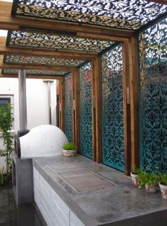 Decorative screens for outdoor BBQ area