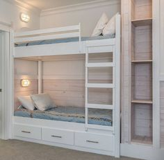 Whitewashed Pine shiplap adds a coastal feel to this bunk room with built-in bunk beds and ladder. This actually is a very simple and inexpensive plan. Notice the storage nook by beds as well. Bed Plans, Bed, Home, Bunk Beds Built In, Loft Spaces, Modern Bunk Beds, Cool Loft Beds, Bed Lights, Bunk Bed Lights