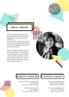 CV / Resume - Resume Template Ideas of Resume Template - Mi Currículum Vitae / My Resume Cv Design, Resume Design, Branding Design, Logo Design, Graphic Design, Fashion Cv, Fashion Resume, Artist Cv, Artist Resume
