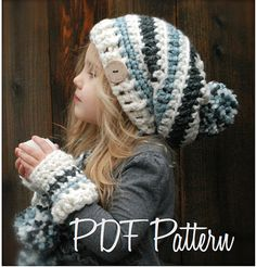 Crochet PATTERN-The Feyona Cap/Mitt Set (Toddler, Child and Adult sizes) by Thevelvetacorn on Etsy Knitting Projects, Crochet Projects, Knitting Patterns, Crochet Patterns, Vogue Patterns, Pdf Patterns, Quilt Patterns, Crochet Crafts, Yarn Crafts