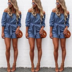 06106d29c62 Hot Fashion 2018 Summer Women V neck Clubwear Off Shoulder Mini Playsuit  Sexy Bodycon Party Jumpsuit Trousers Romper Jeans
