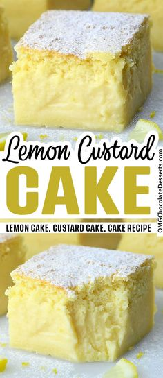 Lemon Desserts, Lemon Recipes, Köstliche Desserts, Cake Recipes, Dessert Recipes, Yummy Snacks, Delicious Desserts, Yummy Food, Magic Custard Cake