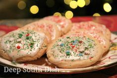 Old Fashioned Sugar Cookies with a thick, powdered sugar icing and sprinkles for Christmas. Old Fashioned Sugar Cookie Recipe, Delicious Desserts, Dessert Recipes, Deep South Dish, Best Cookie Recipes, Christmas Cooking, Sugar Cookies Recipe, Biscuit Recipe, How Sweet Eats