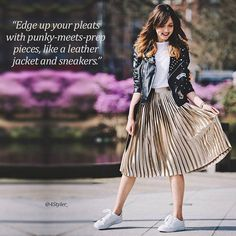 More #pleats  please! Check out enticing ways to wear a pleated skirt and get free style advice:  TAB the link in our bio. Credit:  @adashoffash . . . . . .