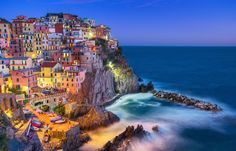 Colors of the Night - Max Foster. Manarola, Italy. One of the beautiful towns in the Cinque Terre.