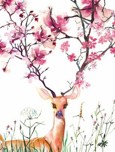 Greeting Cards | Illustration | Goods - Collection - flowering deerby Mash D'yans