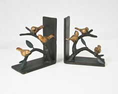 Cast Iron Steel Bird Bookends Metal Birds Branches by BeeJayKay