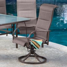 Outdoor Set of 2 Coral Coast Del Rey Padded Sling Swivel/Rocker Patio Dining Chairs Bronze Sling - DR-HS02-2037