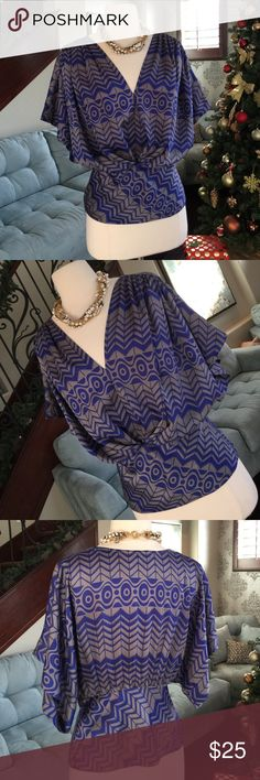 👚🌺🐻Anthropologie kimono style top Gorgeous gray blue print kimono style top by Anthropologie so comfy and cute on perfect condition ♥️ Anthropologie Tops