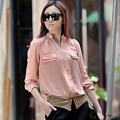 Long pink women's shirt.  http://www.formalworkattire.com/versatility-long-womens-shirts/