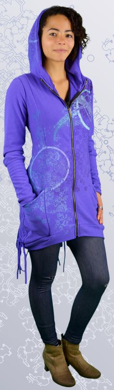 Bamboo Bustle Jacket made in Canada from organic fabric. A unique women's hoodie printed with dragonfly art and sacred geometry, mandalas, i-ching designs. Dragonfly Art, Cotton Jacket, Bustle, Sacred Geometry, Hoodie Jacket, Organic Cotton, Bamboo, Canada, Hoodies