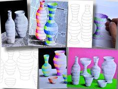 da www.arteascuola.com Tre fogli di lavoro con bottiglie e vasi di varie dimensioni da decorare. Le immagini si possono utilizzare in molti modi: nella foto quattro proposte diverse con lo stesso soggetto. Gli argomenti che si possono trattare riguardano la natura morta, la disposizione delle forme