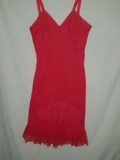 Vintage Red Full Slip Nan Flower Sz 34 #nanflower
