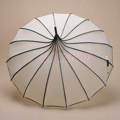 Ivory Rain Umbrella, Waterproof Umbrella, Ivory Pagoda Umbrella, Sun Umbrella, Vintage Umbrella, Bridal Umbrella, Wedding Umbrella BTS12A-6